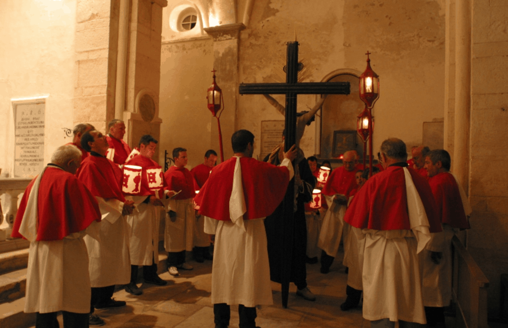 Processions of the friaries from Bonifacio during Holy Week in Corsica.